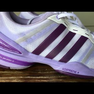 Adidas purple and white tennis shoes